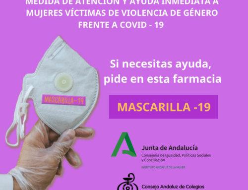 Las víctimas de violencia de género podrán solicitar ayuda en las más de 3.800 farmacias andaluzas con la clave «Mascarilla 19″'