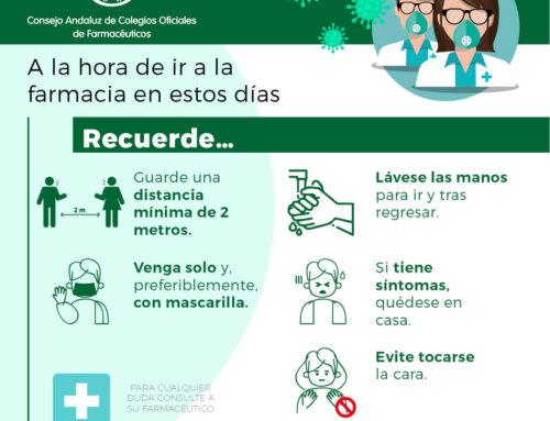 La farmacia andaluza pide seguir extremando las precauciones y cumplir las medidas de higiene y seguridad para evitar nuevos contagios de COVID-19