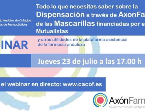 Webinar sobre la dispensación a través de AxónFarma® de las mascarillas financiadas por el SAS
