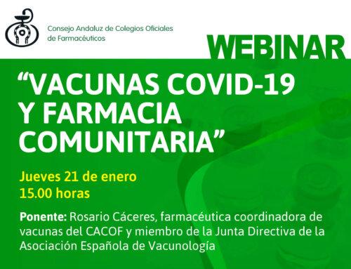 """Nuevo webinar """"Vacunas COVID-19 y Farmacia Comunitaria"""""""